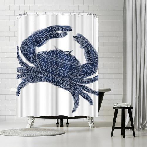 navy blue tribal crab shower