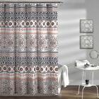 "Lush Decor Nesco Stripe Shower Curtain, 72"" x 72"", Navy and"
