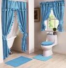 NEW BLUE Lauren Double Swag Ruffle Shower Curtain with Liner