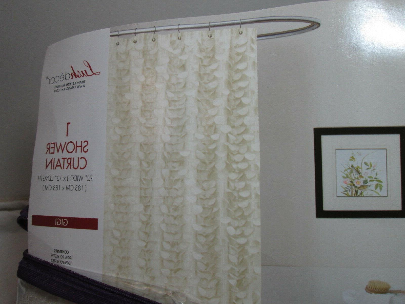 New Lush Decor Fabric Shower Curtain 72 X72 Gigi