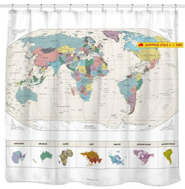 new map of the world shower curtain