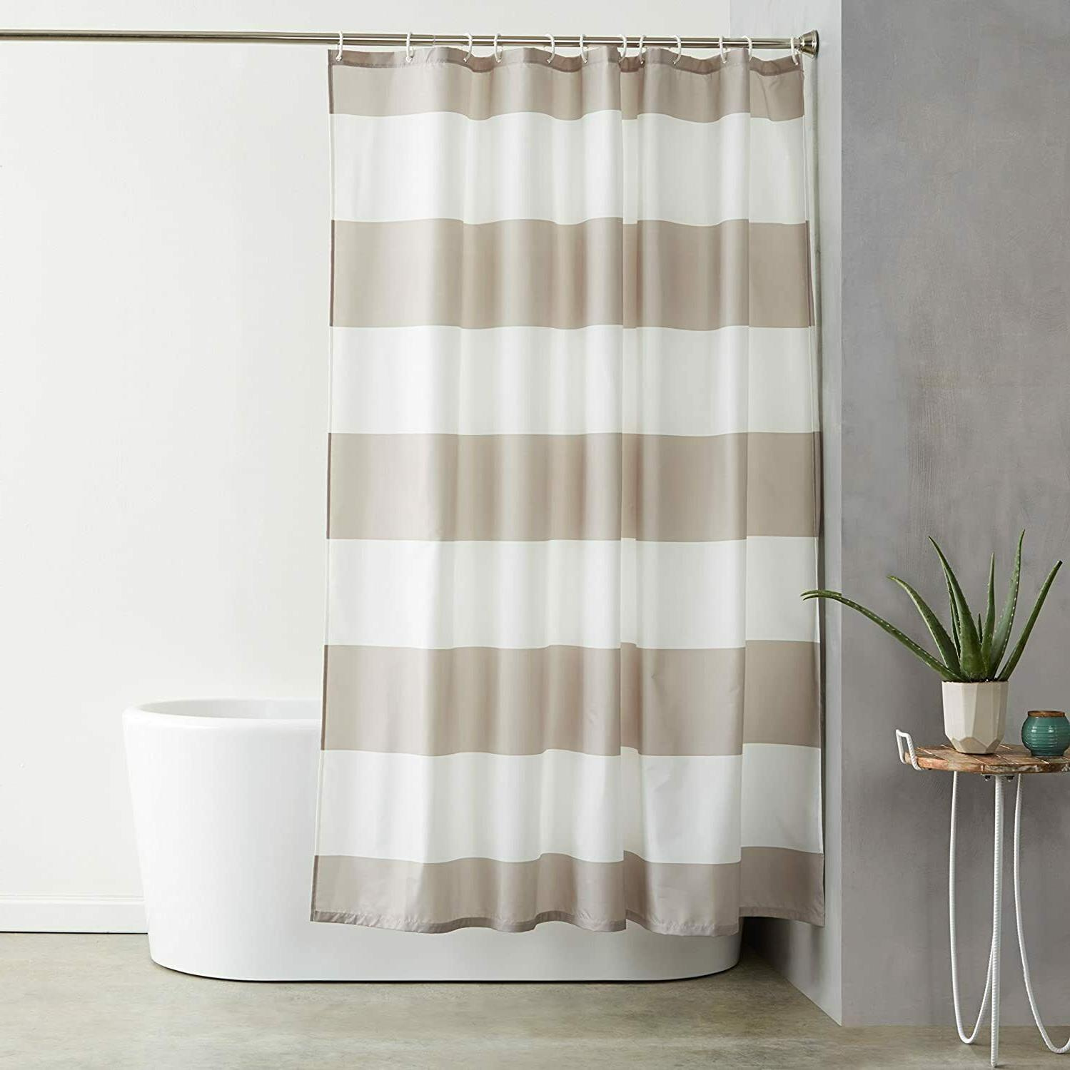 """Water Repellant Shower Curtain with Hooks - 72"""" x 72"""", Gray"""