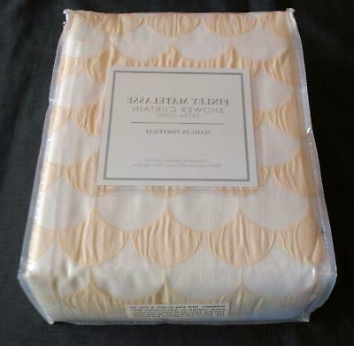 NIP Home Beige White Cotton Shower Extra Long