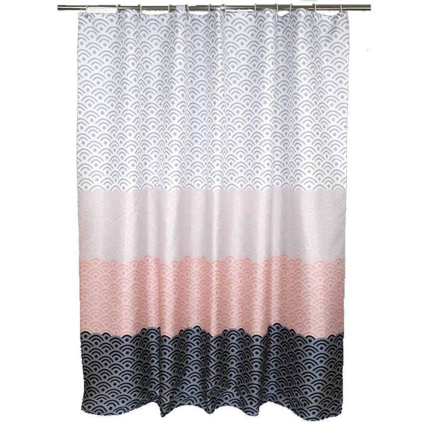 Nordic <font><b>Curtain</b></font> Color Block Bath Bathroom For Cover Extra 12pcs Hooks