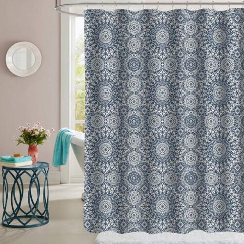 oasis blue mandala pattern fabric bathroom shower