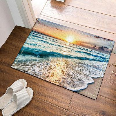 Ocean Beach Sunset Polyester Waterproof Bathroom Mat Decor