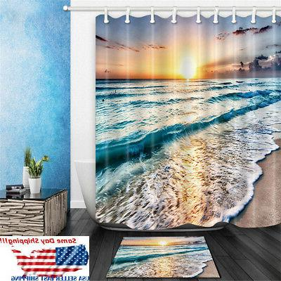 ocean beach sunset polyester waterproof bathroom shower