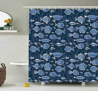 ocean shower curtain sealife marine navy image