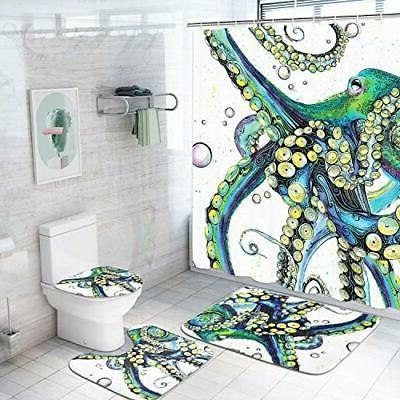 Octopus Shower Curtain Sets with Non-Slip Rugs, Toilet Lid C