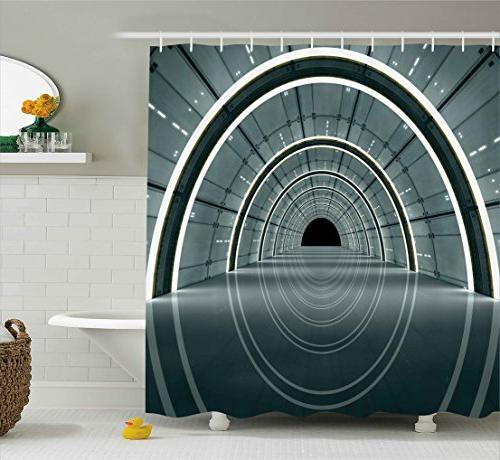outer space decor shower curtain