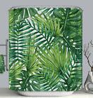 Palm Leaves Fabric SHOWER CURTAIN 70x70 with Hooks Green Tro