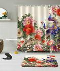 Peacock and Peony Shower Curtain Set Polyester Fabric Bathro