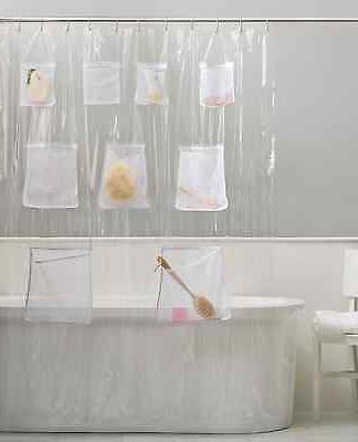 PEVA Vinyl Shower Curtain Liner With Mesh Pockets - Assorted