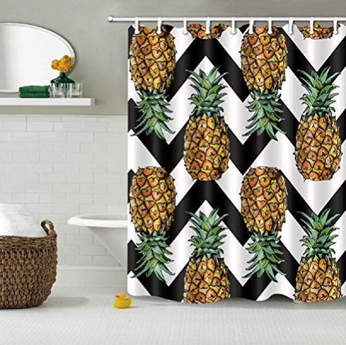 pineapple black white chevron pattern