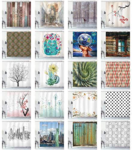 Printed Shower Curtain in 3 Fabric Set with Ambesonne
