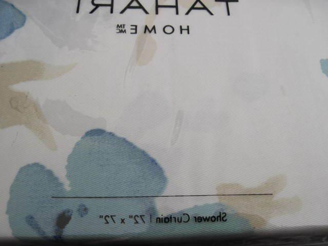 Tahari Home Fabric Shower Teal, Tan White x