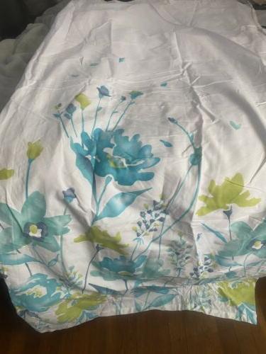 printemps watercolor shower curtain teal aqua lime