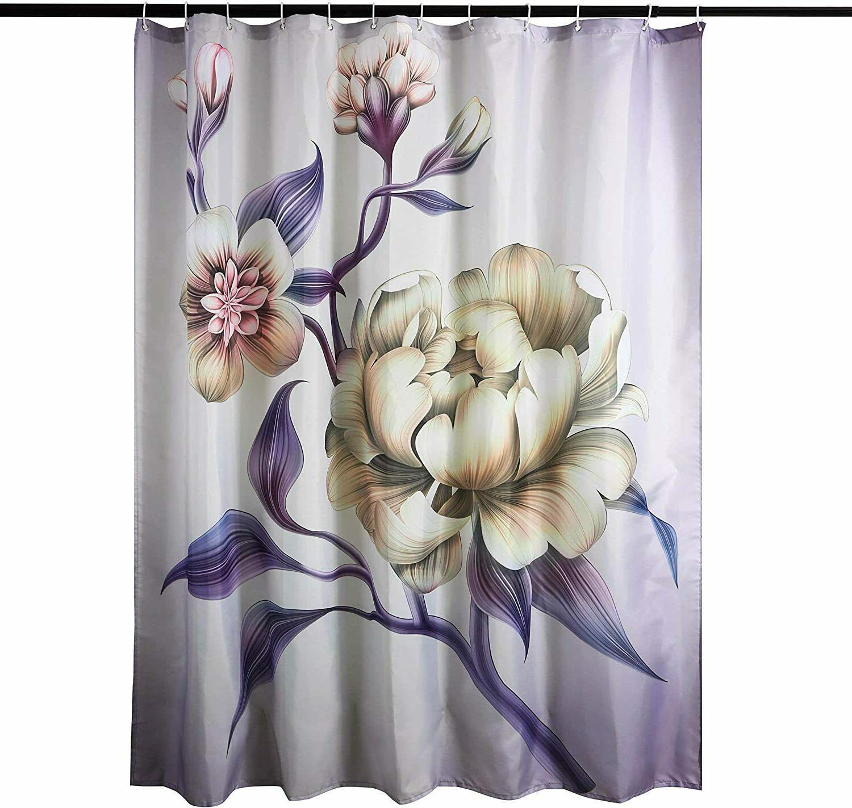 Purple Elegant Shower Bathroom with Hooks