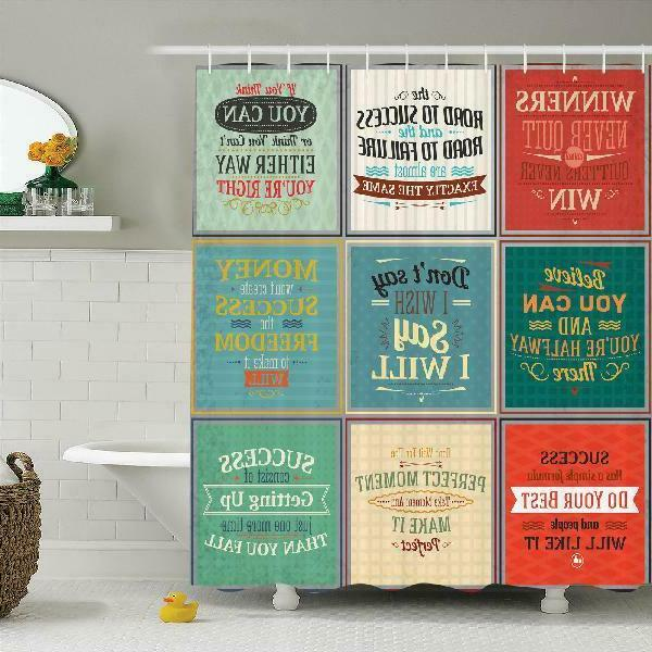 Quotes Decor Shower Curtain Set, Collection Of Uplifting Mes