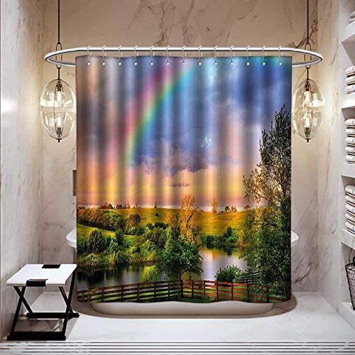 Stevenhome Rainbow Anti Shower Curtain Liner Countyside Green Pastures River Rainbow Bathroom