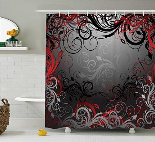 red black shower curtain