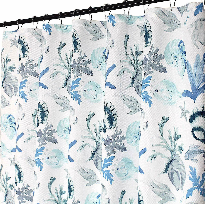 regal home fabric shower curtain ocean shells