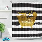 Relax Beauty in Bath Tub Shower Curtain Black and White Stri