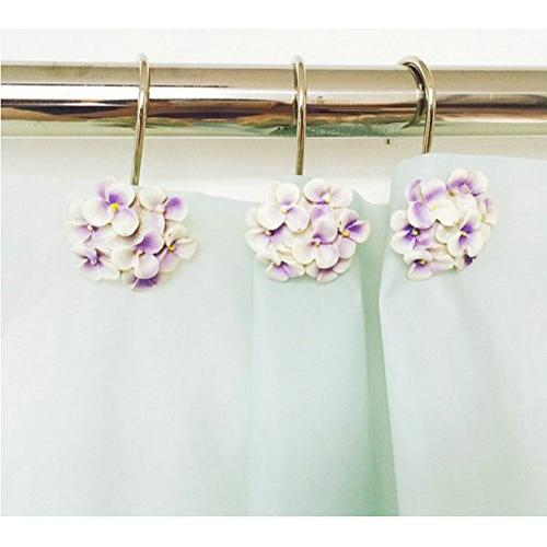 resin flower decorative shower curtain
