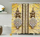 Retro Shower Curtain African Morrocan Forms Print for Bathro