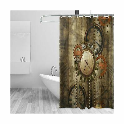 ALAZA Retro Steampunk Clocks and Gears Shower Curtain Custom Waterproof