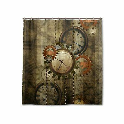 retro steampunk clocks and gears shower curtain