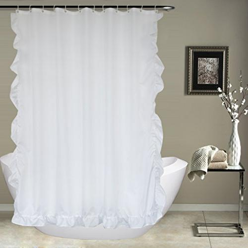 white ruffled shower curtain