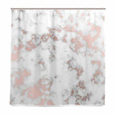 Alaza Rose Gold Marble Shower Curtain Waterproof Polyester