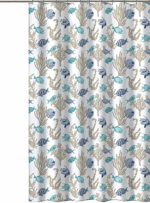Royal Sea Life Fish Fabric Curtain: Turquoise, Teal,