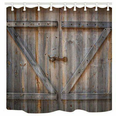 rustic decor shower curtain rustic wooden barn