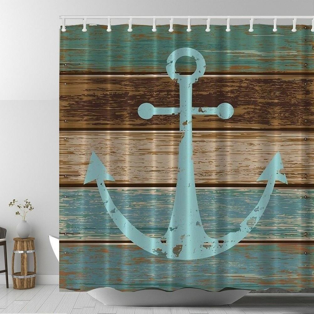 Rustic Old Anchor Graphic Shower Curtain Wooden Deck Beach N
