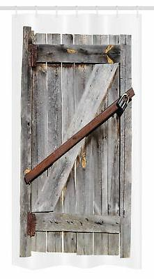 Rustic Stall Shower Curtain Aged Wooden Barn Door Print for