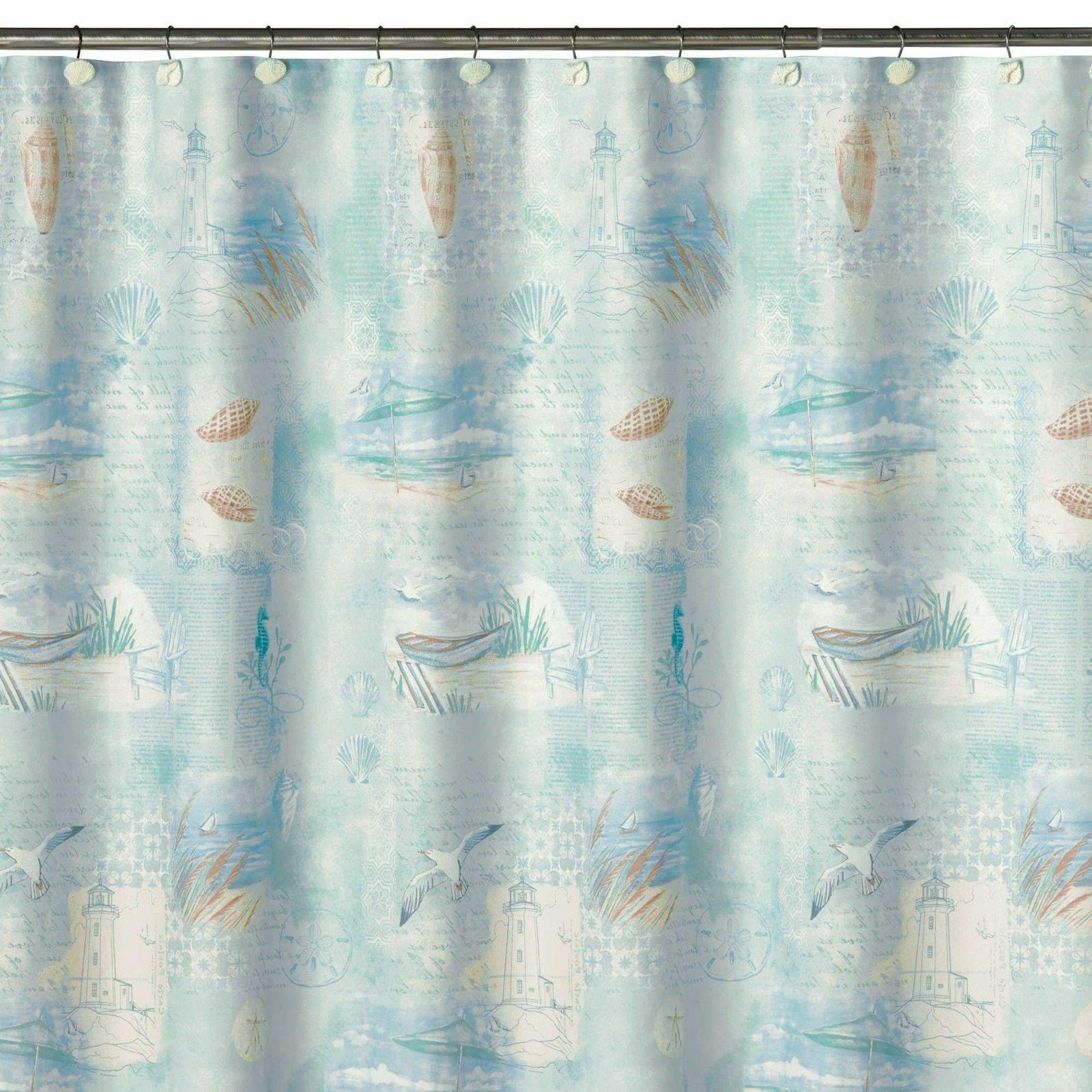 Saturday Knight High Tide Beach Theme Fabric Shower Curtain
