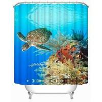 Sea Turtle Waterproof Polyester Fabric Bathroom Shower Curta