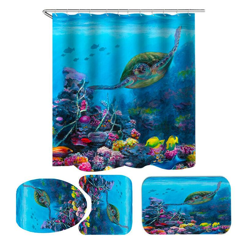 sea turtle waterproof shower curtain home bathroom