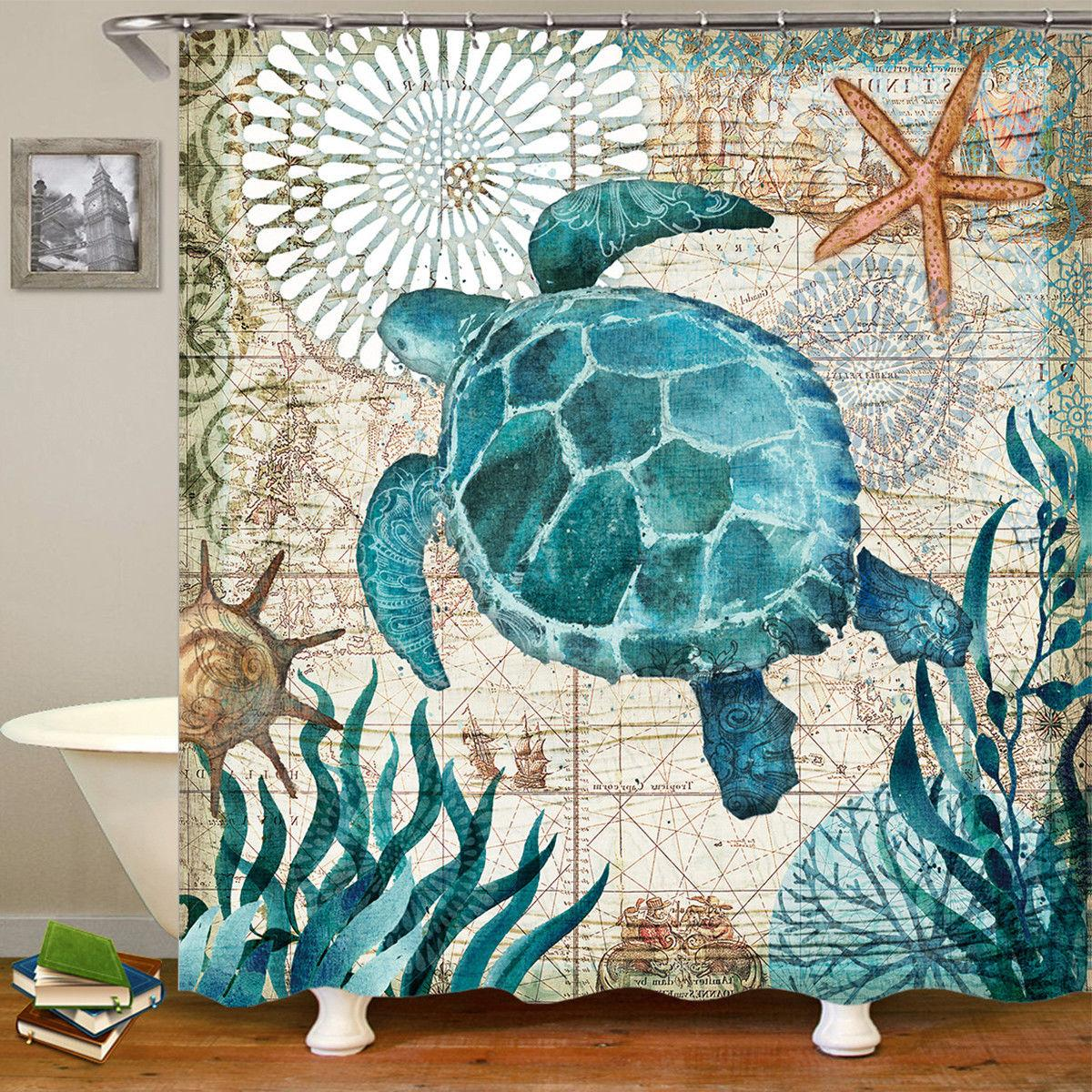 Sea Turtles Polyester Shower Curtain Toilet Rugs Mat Set