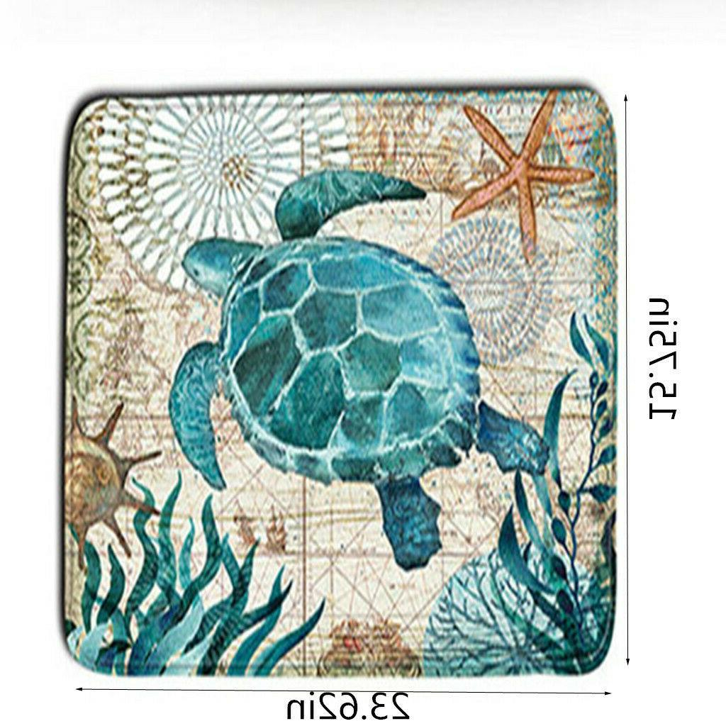 Sea Turtles Shower Curtain Slip Toilet Set