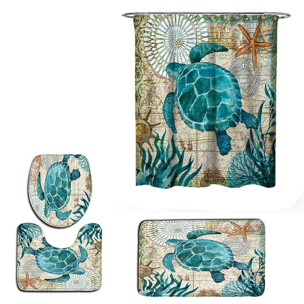 Sea Bathroom Polyester Toilet Mat Set