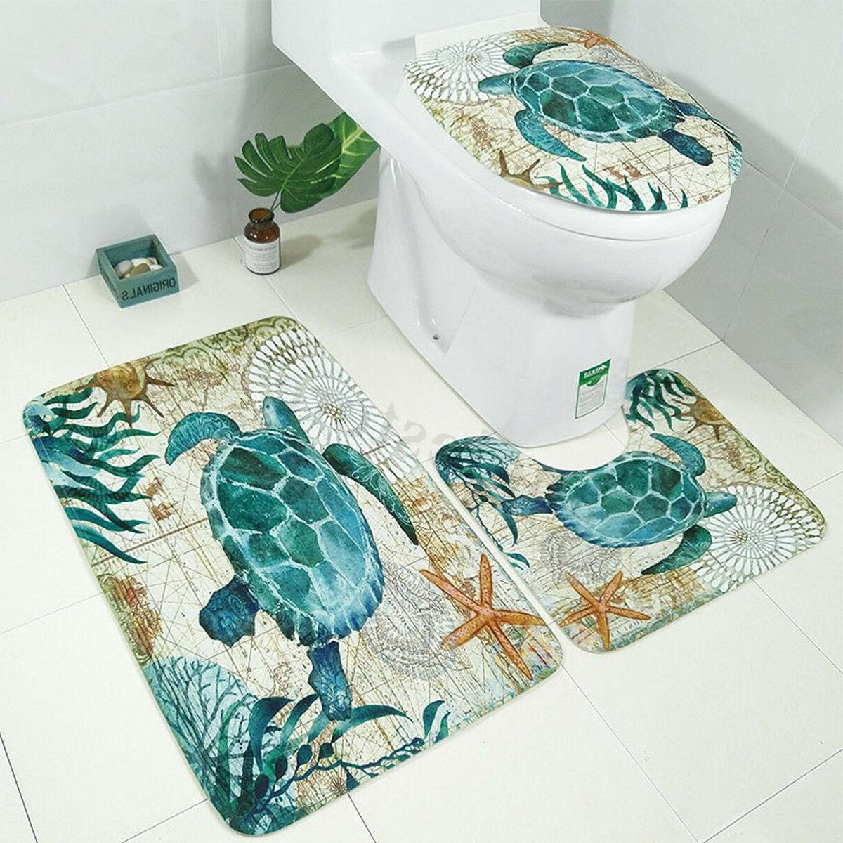 Sea Turtles Bathroom Polyester Shower Toilet Set