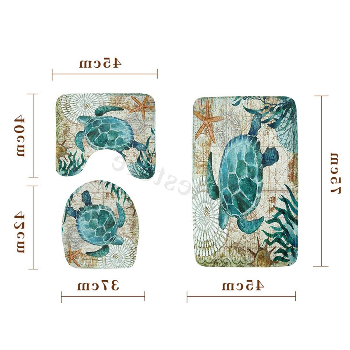 Sea Turtles Bathroom Polyester Shower Non Toilet Set