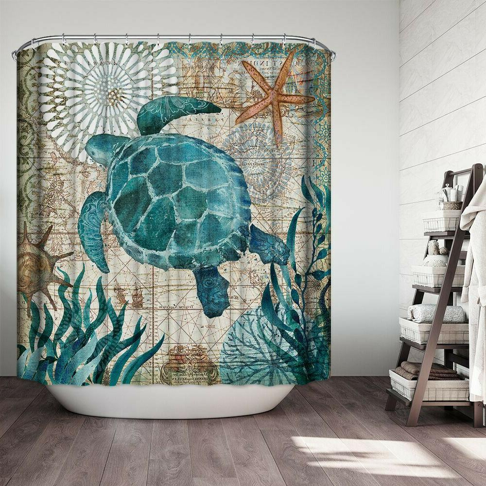 Sea Bathroom Polyester Shower Non Toilet Rugs Mat Set