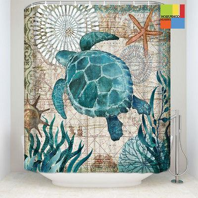 Sea Shower Curtain Non Toilet Mat Set