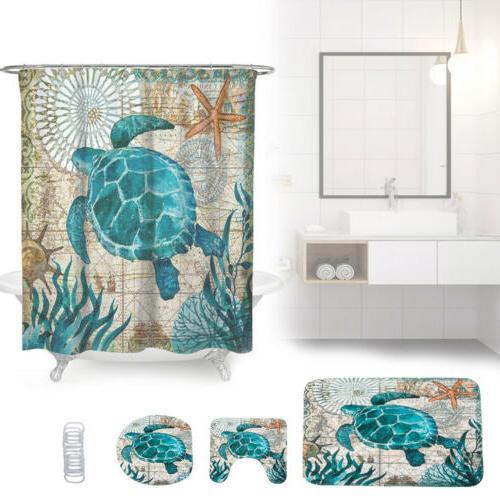 Sea Turtle Shower Curtain Bathroom Rug Set Bath Mat Non-Slip