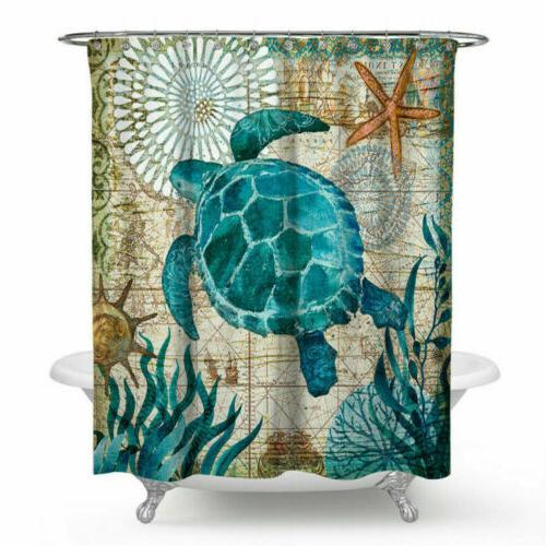 Sea Turtle Beach Theme Shower Curtain Bathroom Decor with Ho