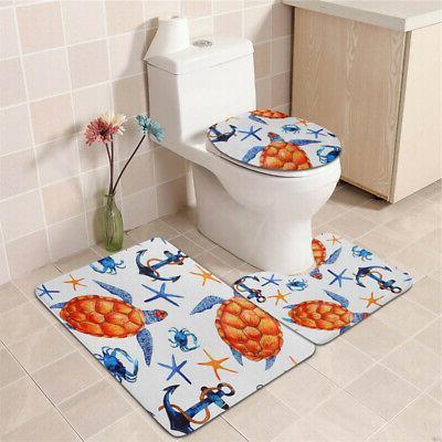 Sea Bathroom Shower Curtain Cover Set